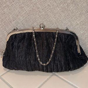 Neiman Marcus Black Evening Bag Crystal Kisslock